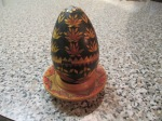 Czech Wooden Easter egg. The design is inlaid.
