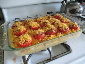 Mac 'n Cheese with tomato slices before it goes into the oven. Trust me it beats Kraft.