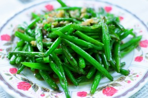 green beans EVOO garlic
